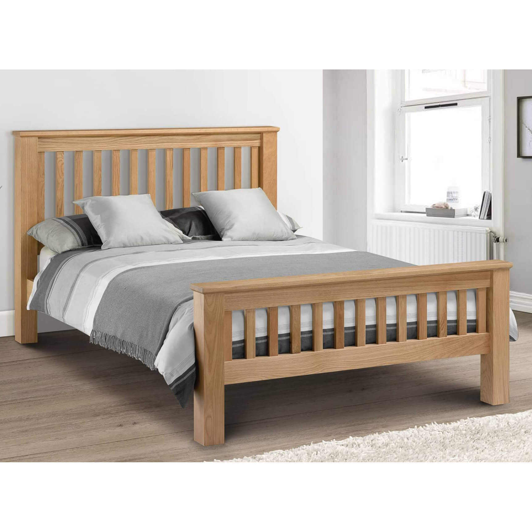 Hadley High Footend Wooden Bed Frame Bedknobs